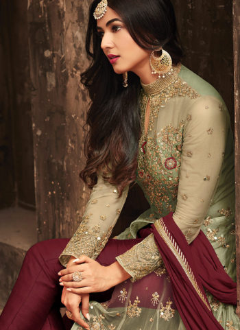 Beige and Red Embroidered Lehenga/ Pant Style Anarkali