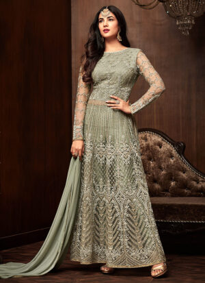 Green Embroidered Pant Style Anarkali