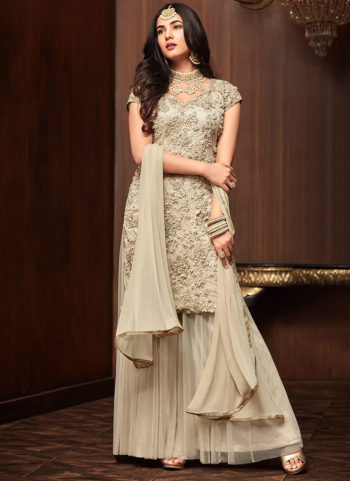 Offwhite Embroidered Gharara Suit