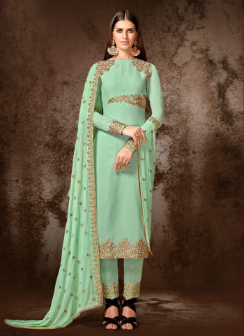 Pista Green Embroidered Straight Cut Suit