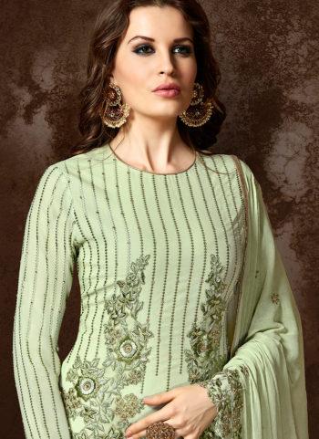 Light Green Embroidered Straight Cut Suit