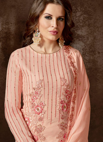 Light Peach Embroidered Straight Cut Suit