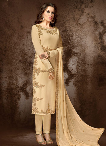 Light Beige Embroidered Straight Cut Suit