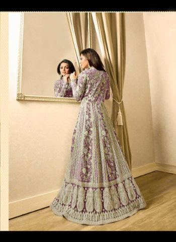 Purple Embroidered Jacket Style Anarkali