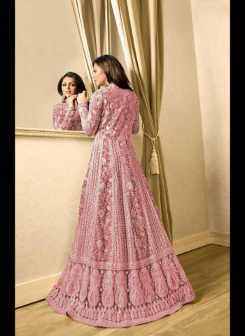 Light Pink Embroidered Jacket Style Anarkali