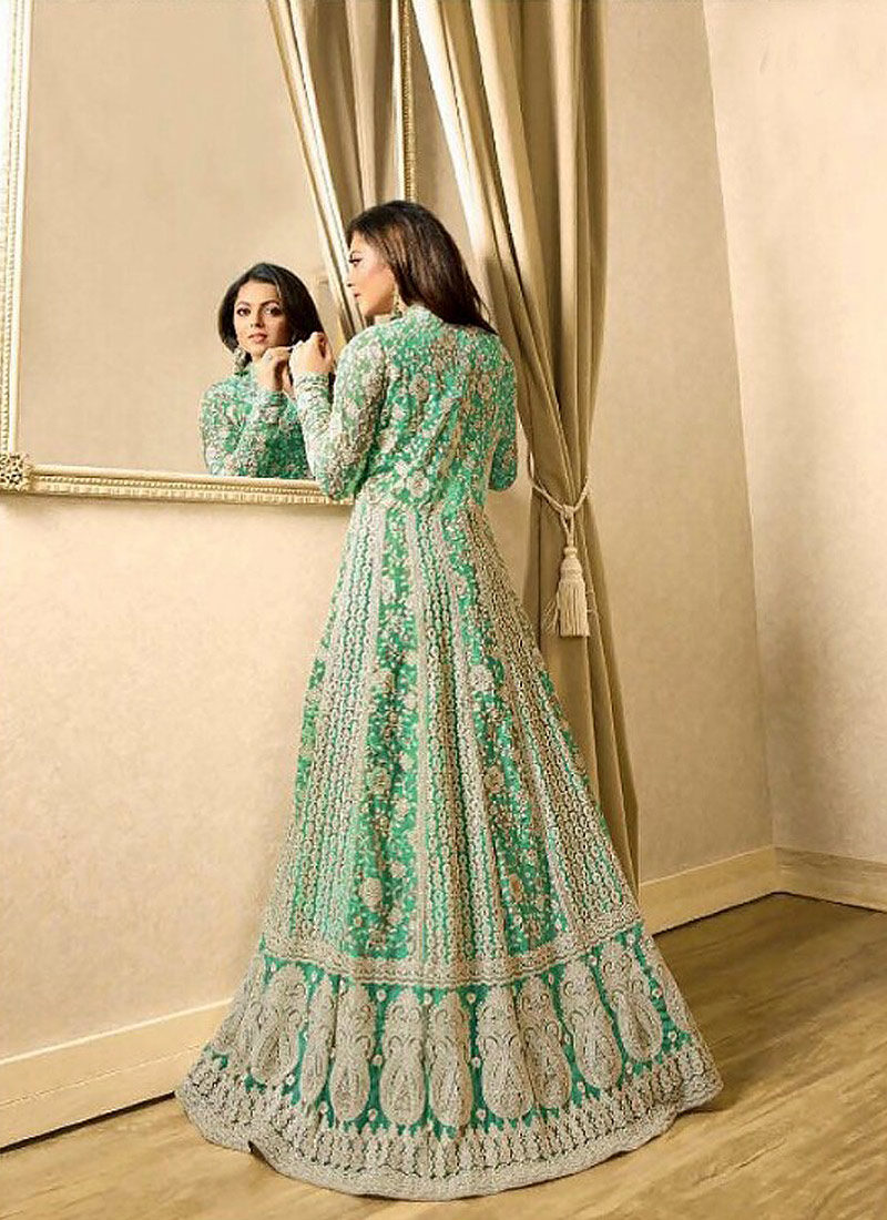 Sea Green Embroidered Jacket Style Anarkali