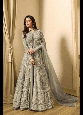 Light Grey Embroidered Jacket Style Anarkali