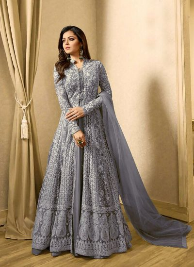 Blue Grey Embroidered Jacket Style Anarkali