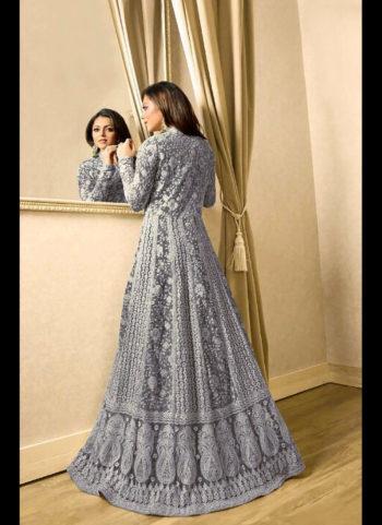Blue Grey Embroidered Jacket Style Anarkali
