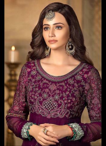 Purple Embroidered Pakistani Style Suit