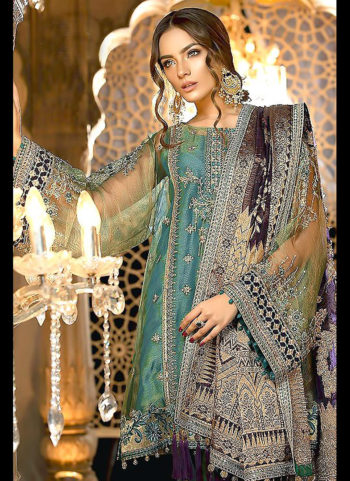 Teal Embroidered Pakistani Style Suit
