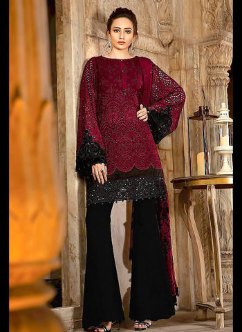 Red and Black Embroidered Pakistani Style Suit