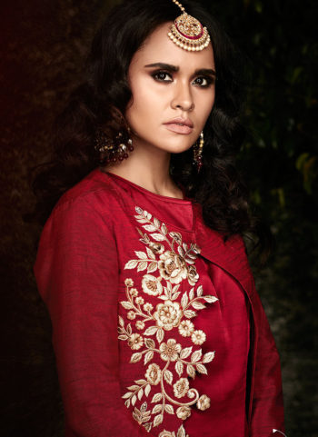 Red and Cream Embroidered Pakistani Style Suit