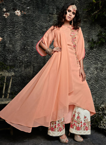 Peach and Offwhite Embroidered Pakistani Style Suit