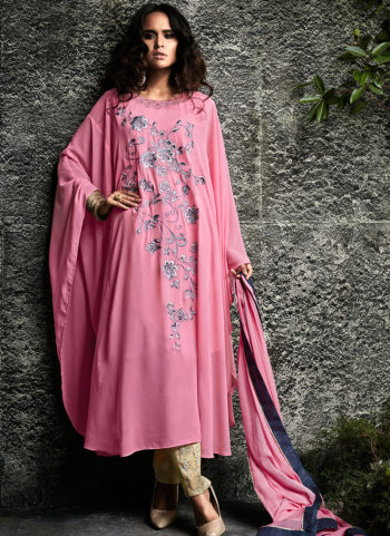 Pink and Beige Embroidered Pakistani Style Suit