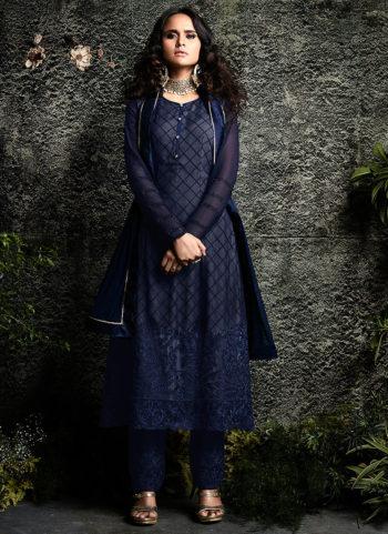 Dark Blue Embroidered Pakistani Style Suit