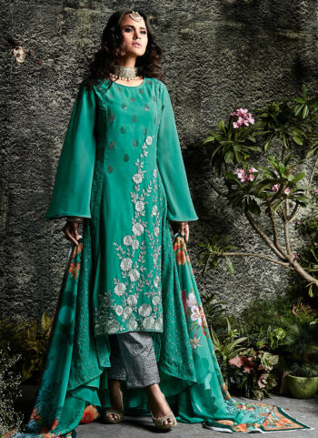 Sea Green and Grey Embroidered Pakistani Style Suit