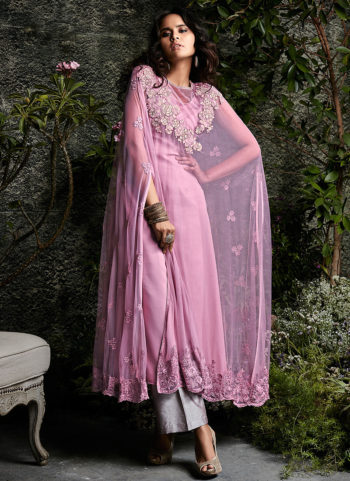 Light Pink and Grey Embroidered Pakistani Style Suit