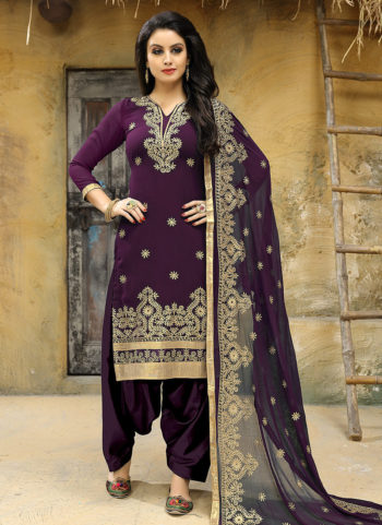 Purple and Gold Embroidered Punjabi Suit