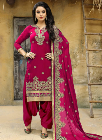 Pink and Gold Embroidered Punjabi Suit
