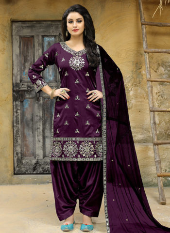 Purple Embroidered Punjabi Suit