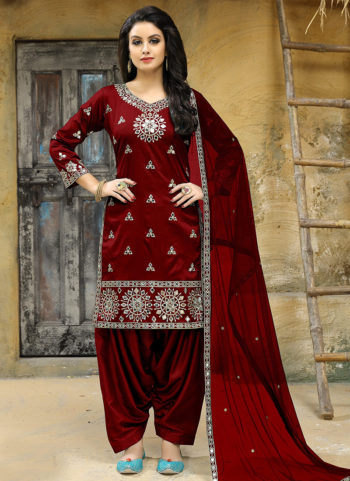 Red Embroidered Punjabi Suit