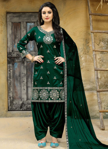 Green Embroidered Punjabi Suit
