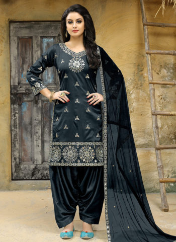 Dark Grey Embroidered Punjabi Suit