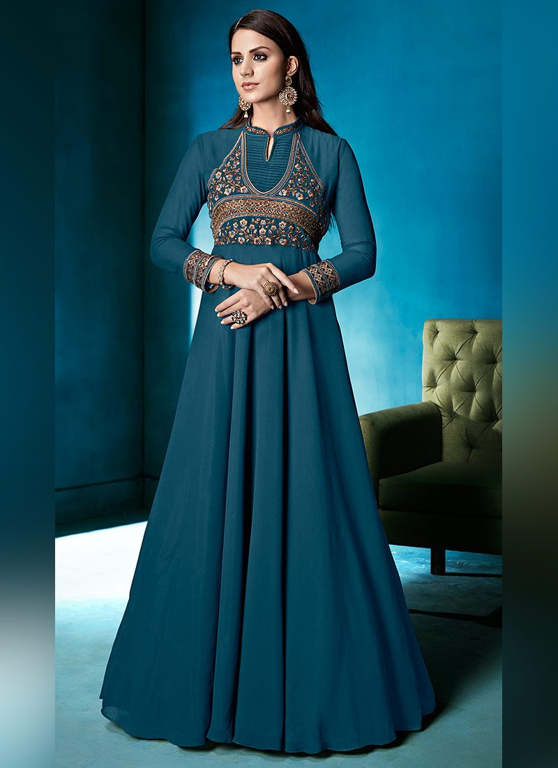 Teal Embroidered Anarkali