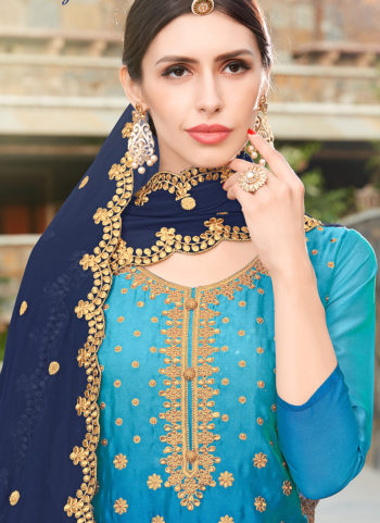 Blue and Gold Embroidered Punjabi Suit