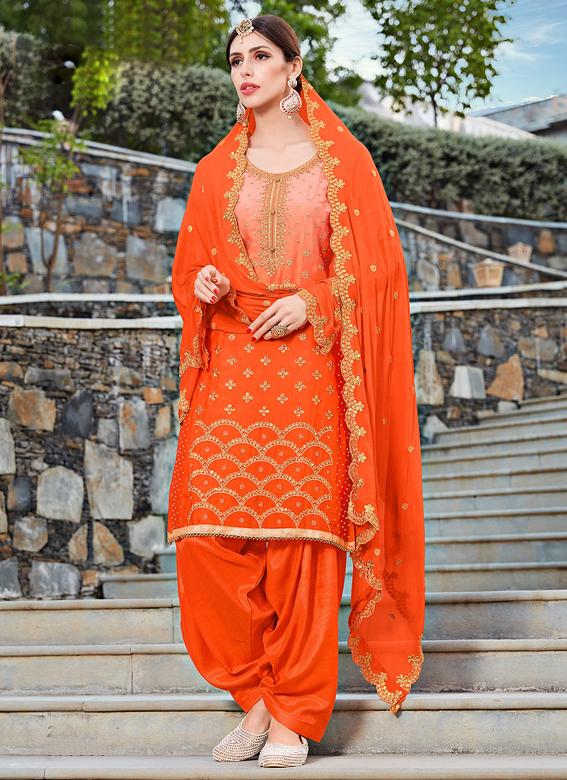 Orange and Gold Embroidered Punjabi Suit