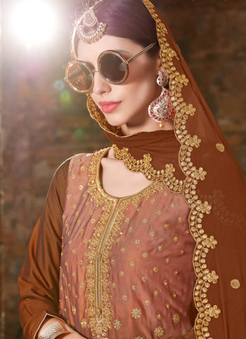 Brown and Gold Embroidered Punjabi Suit