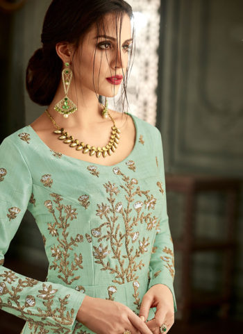 Mint Green and Gold Embroidered Anarkali