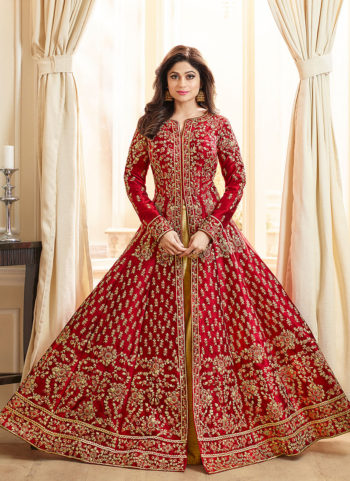 Red and Gold Embroidered Lehenga Anarkali
