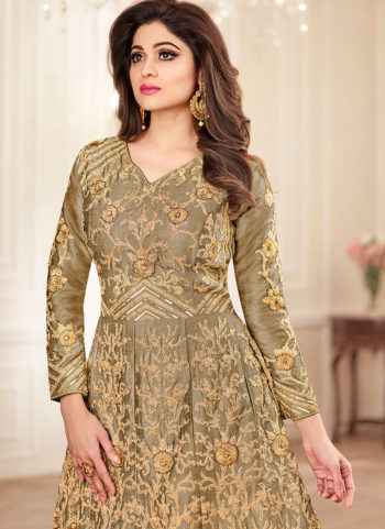Dark Beige and Gold Embroidered Anarkali