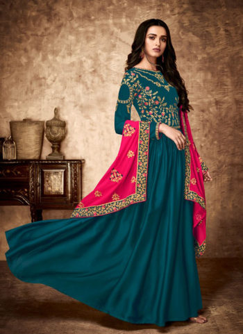 Teal Blue and Gold Embroidered Anarkali