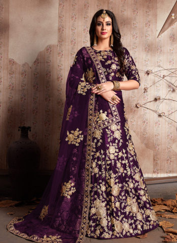 Purple and Gold Embroidered Lehenga