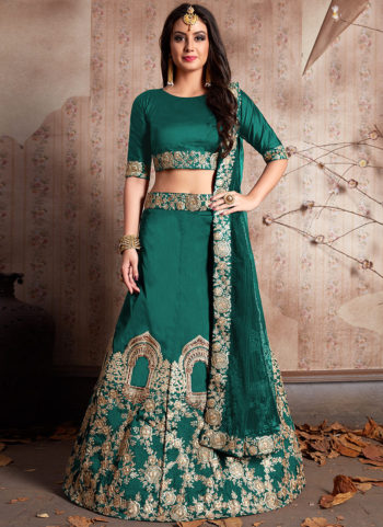 Green and Gold Embroidered Lehenga