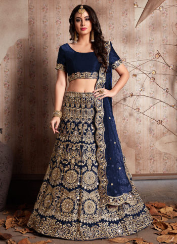 Navy Blue and Gold Embroidered Lehenga