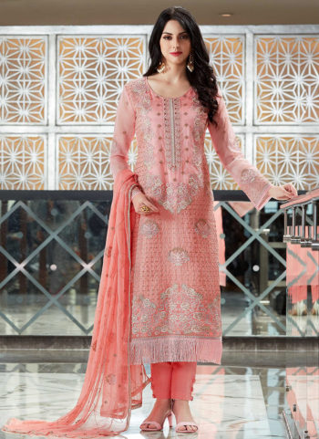 Light Pink Embroidered Straight Cut Suit