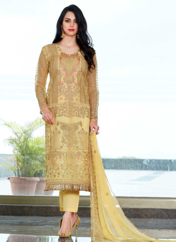 Yellow Embroidered Straight Cut Suit