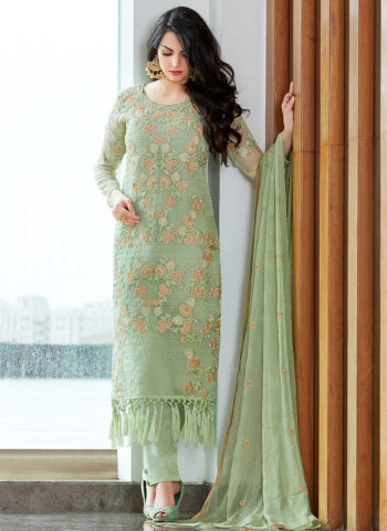 Mint Embroidered Straight Cut Suit
