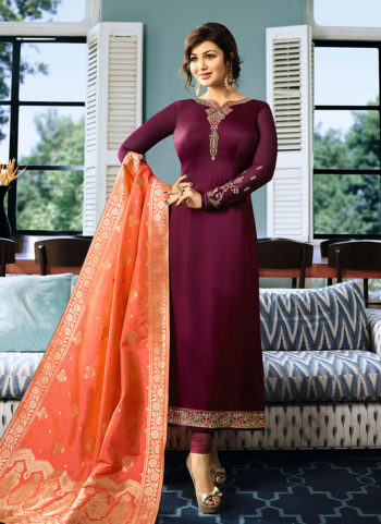 Magenta and Orange Embroidered Straight Suit