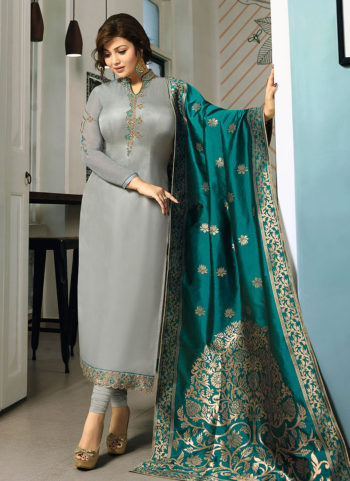 Grey and Teal Embroidered Straight Suit