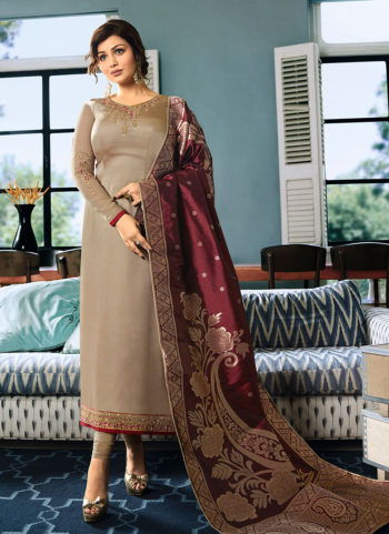 Grey and Maroon Embroidered Straight Suit
