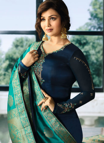 Blue and Teal Embroidered Straight Suit