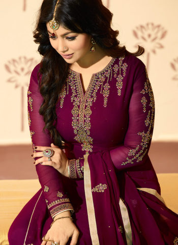 Purple Embroidered Straight Cut Suit