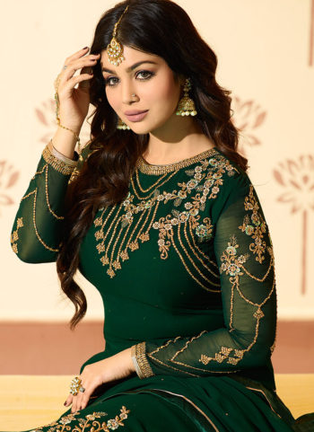 Green Embroidered Straight Cut Suit