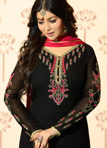 Black Embroidered Straight Cut Suit