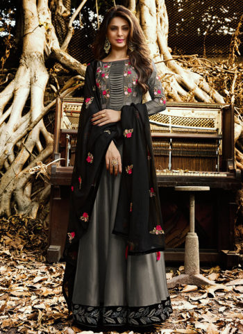Grey and Black Embroidered Anarkali